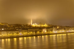 Budapest at night with the Danube rive separating the two original cities of Buda and Pest Stock Image