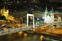 Budapest by night with Elisabeth bridge Stock Image
