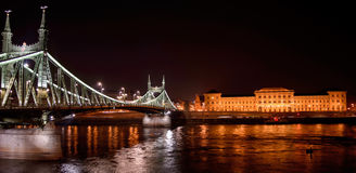 Budapest by night. Freedom bridge over the Danube River in Budapest, Hungary Royalty Free Stock Image