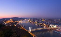Budapest at night, Hungary. Budapest and Danube at night, view from Citadella Stock Images