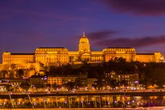 Night photo of a building in Budapest royalty free stock photography