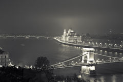 Budapest At Night, Hungary, View On The Chain Bridge and the Par royalty free stock image
