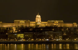 Budapest night long exposure winter danube. Budapest by night long exposure winter danube shore beautiful public lighting on building Royalty Free Stock Images