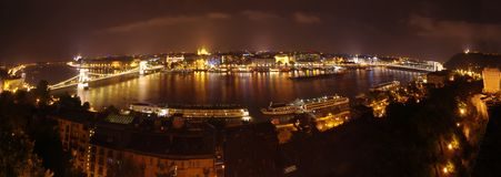 Budapest night panorama. Budapest wide panorama, night scene view from Royal Palace Stock Image