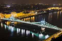 Budapest, night panorama with Elisabeth Bridge Royalty Free Stock Photography