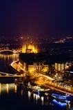 Budapest night panorama with Hungarian Parliament Stock Photos