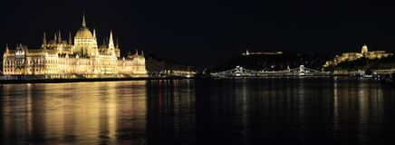 Budapest night panorama with illuminated parliament, chain bridge and castle stock image
