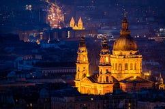 Budapest night panorama with St Stephen's Basilica Royalty Free Stock Photos