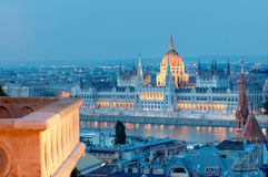 Budapest by night, parliament and balcony Royalty Free Stock Photos
