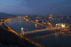 Budapest by night. Night shot of Danube river and the illuminated Budapest, Hungary Royalty Free Stock Image