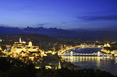 Budapest by night with Szechenyi chain bridge Royalty Free Stock Photography