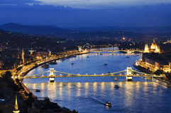 Budapest by night with Szechenyi chain bridge Royalty Free Stock Photos