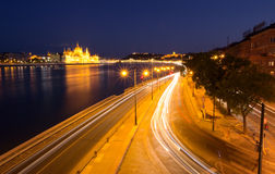 Budapest night traffic Stock Photography