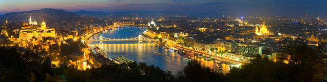 Budapest night view. Budapest night panorama view. Long exposure (trees in the foreground out of focus and some in motion blur Royalty Free Stock Images