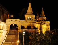 Budapest night view. Fisherman's bastion castle in budapest at night Royalty Free Stock Image