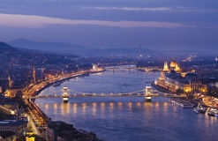 Budapest. Night view of Chain Bridge on the Danube river and the city of Pest Royalty Free Stock Images