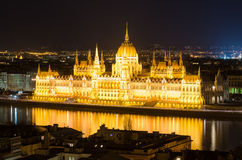 Budapest, night view on Danube and Parliament Royalty Free Stock Images
