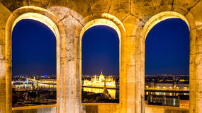 Budapest, night view on Danube and Parliament Royalty Free Stock Photography