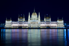 Budapest: Night View Hungarian Parliament Royalty Free Stock Photos