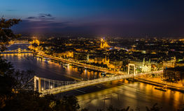 Budapest. Night view of Budapest,Hungary with Elisabeth brudge over Danube river from fortress Citadel stock photography