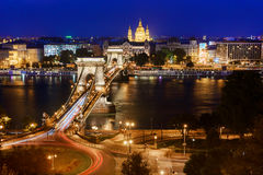 Budapest. Night view over the Danube and the Chain Bridge Stock Photos