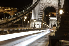 Budapest nightlife. Ancient Bridge in Budapest, night photo Royalty Free Stock Photo