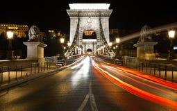 Budapest nightlife. Ancient Bridge in Budapest, night photo Royalty Free Stock Photography
