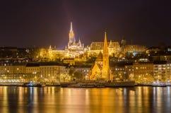 Budapest nocą od Danube rzeki, Węgry Fotografia Royalty Free