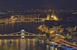 Budapest nocą Zdjęcia Stock
