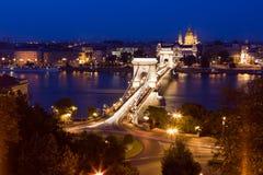 Budapest noc piękny pejzaż miejski. Zdjęcia Royalty Free