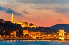 Budapest noc widok Obrazy Stock