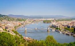 Budapest och Danubet River Arkivbilder