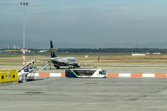 BUDAPEST, 10 OCTOBER 2017 - Ferihegy airport in Budapest, Hungary. Ryanair airplane on the tarmac of Ferihegy airport in Budapest, Hungary Stock Images