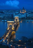 Budapest - the old Chain Bridge royalty free stock photos