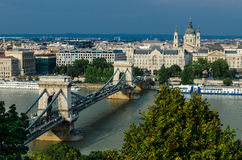 Budapest old city and Danube, Chain Bridge Stock Image