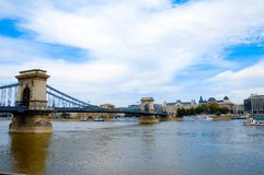 Budapest over river 2. Budapest over old chain bridge Stock Photo