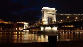 Budapest på natten Arkivfoto