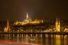 Budapest på natten - bastion för fiskare` s Royaltyfria Bilder