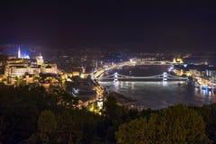 Budapest på natten - panorama Arkivbild