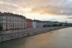 Budapest på solnedgången Arkivbilder