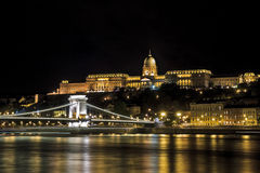 Budapest Palace and chain brisge on the River Danube Royalty Free Stock Image