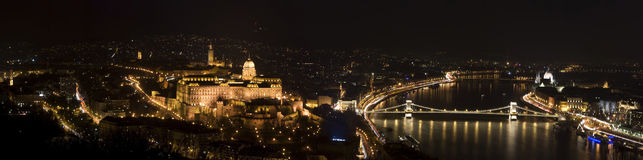 Budapest Panorama. Panoramic picture from The Gellert Hill at night Royalty Free Stock Images