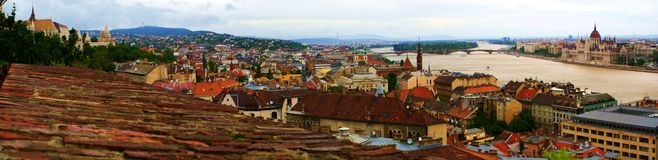 Budapest Panorama. Budapest and the Danube viewed from the Buda Castle stock image