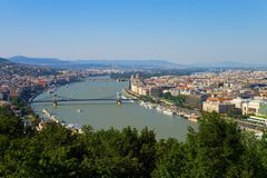 Budapest panorama. Panorama of the hungarian capital Budapest from the Gellert mountain royalty free stock photography