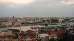 Budapest panorama. Panorama of Budapest city centre with St Stephen`s basilica and Chain Bridge Royalty Free Stock Photo