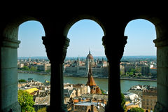 Budapest panorama - Danube and the city. Budapest panorama - hungarian capital viewed trough arches Royalty Free Stock Photos