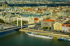 Budapest Panorama. On the Danube with miniature effect Stock Photos