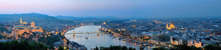Budapest Panorama at Dusk. With Natinal Museum, parliament and river Danube Stock Photos