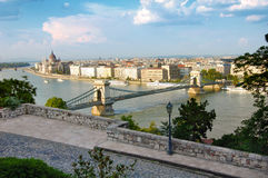 Budapest panorama and the famous Chain bridge Stock Photography