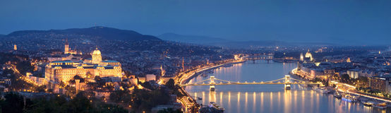 Budapest panorama by night. A panorama with the main beautful landscaperk of Budapest Royalty Free Stock Photo